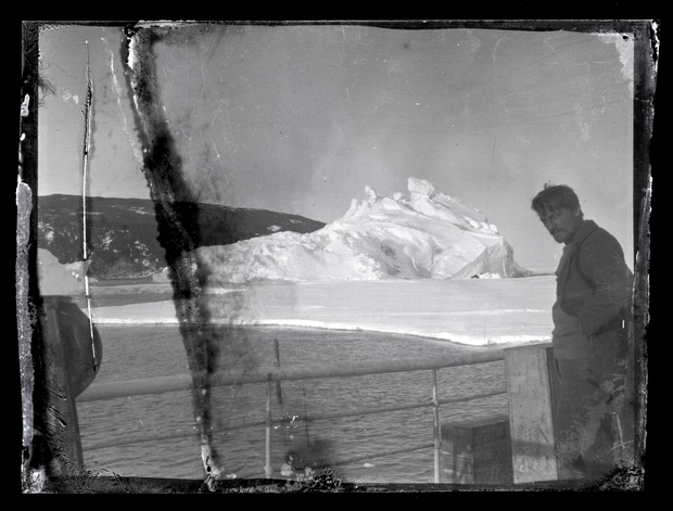 Alexander Stevens on the deck of the Aurora at McMurdo Sound in Antarctica.