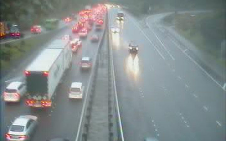A Transport Agency traffic camera shows heavy congestion heading south into Wellington at the Newlands onramp about 8.15am the morning after the slip.