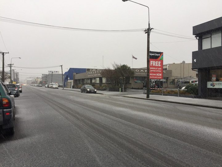 Snow in Christchurch ahead of the America's Cup parade.