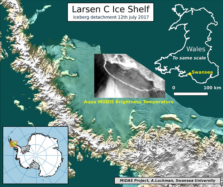An illustration depicting the iceberg's detachment from the Larsen C Ice Shelf. A trillion-tonne iceberg, one of the biggest on record, has snapped off the West Antarctic ice shelf, said scientists on July 12, 2017 who have monitored the growing crack for months.
