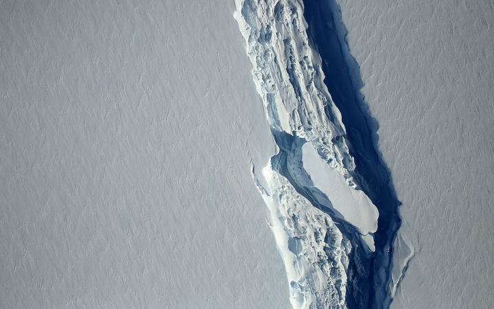an image obtained from NASA showing the Antarctic Peninsula's rift in the Larsen C ice shelf from NASA's IceBridge mission Digital Mapping System. A trillion-tonne iceberg, one of the biggest on record, has snapped off the West Antarctic ice shelf.