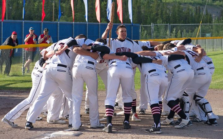 Black Sox haka at the softball world champs in Whitehorse, Canada.