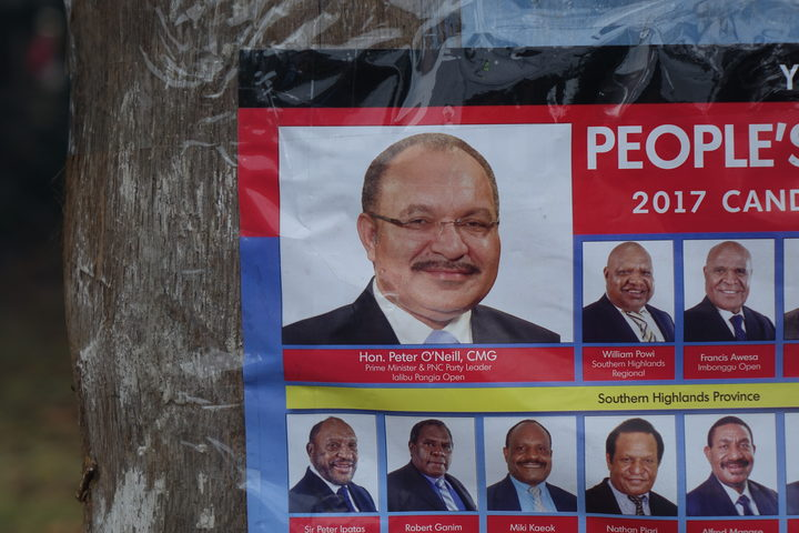 Election campaign poster for Papua New Guinea's People's National Congress Party, led by Peter O'Neill.
