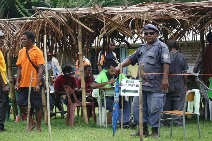Polling in Morobe district during the 2017 national election in Papua New Guinea.
