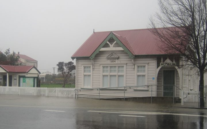Flooding outside the Martinborough Museum.