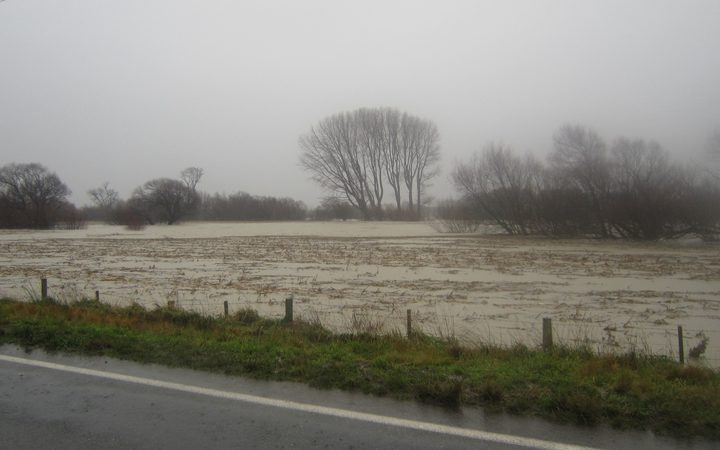 Flooded fields adjacent to the Ruamahanga River in Martinborough