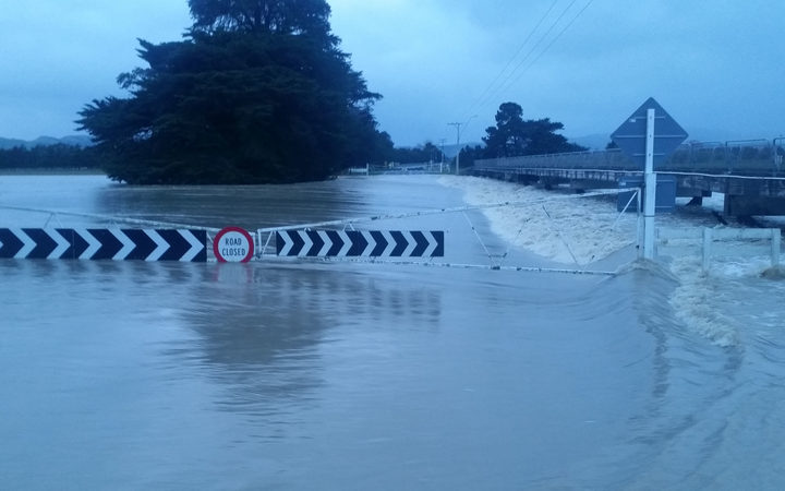 The flooded bridge at Backwater Rd en route to Martinborough
