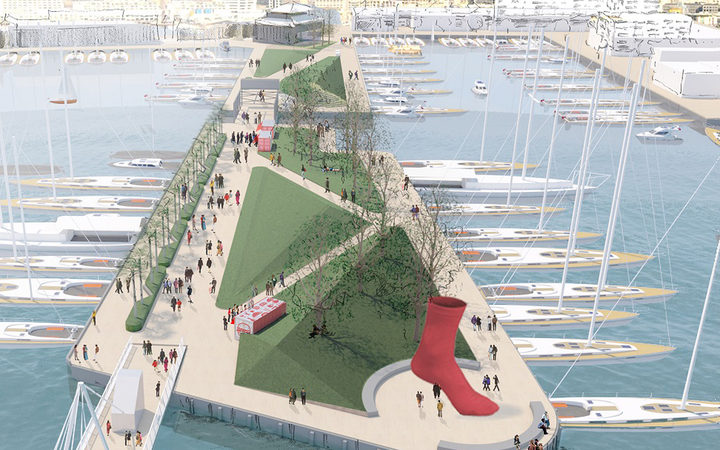Architects drawing of moorings and a park and a red sock statue