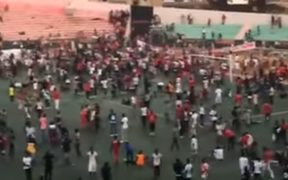 A video posted on a Senegal website appears to shows crowds on the ground at Stade Demba Diop in Dakar.