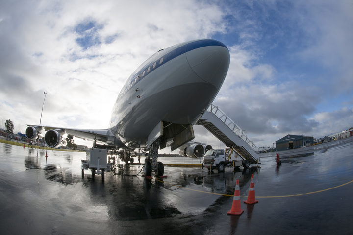 On the rain-soaked ramp at its deployment base at Christchurch International Airport, New Zealand. NASA's SOFIA flying observatory is ready for a mission to study Southern Hemisphere celestial objects.
