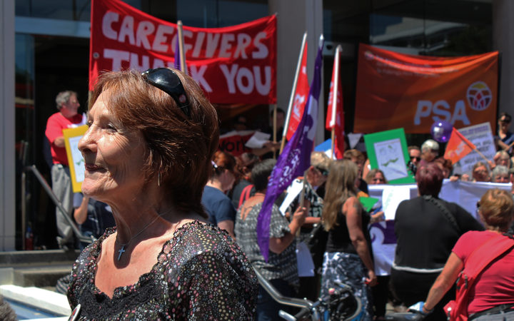 Kristine Bartlett at a pay equity protest outside the Court of Appeal