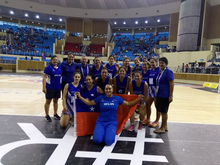 The Samoa team at the Netball World Youth Cup.