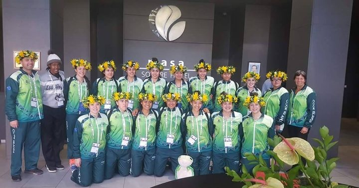 The Cook Islands team at the Netball World Youth Cup.