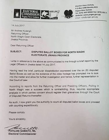 Letter from Papua New Guinea Electoral Commissioner Patilias Gamato reversing a decision to have a number of ballot boxes discounted in North Waghi district.