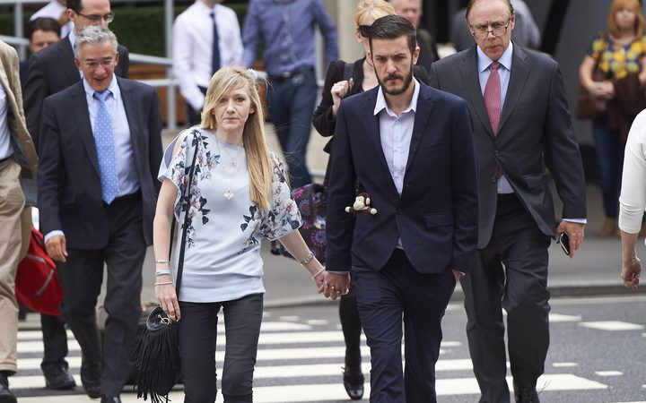 Connie Yates and Chris Gard, the parents of terminally ill 11-month-old Charlie Gard, arrive at the High Court in central London on July 14 for continued hearings.