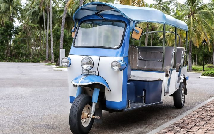 Tuk-tuks are a popular form of transport in Thailand.