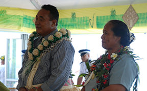The Ulu of Tokelau, Siopili Perez, and his wife, Taase Perez, at their inauguration.