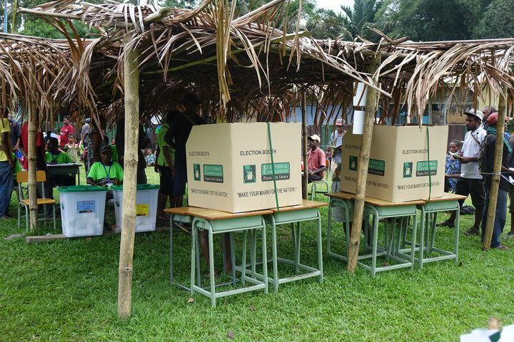 Polling station in Bulolo District, Papua New Guinea national election 2017.