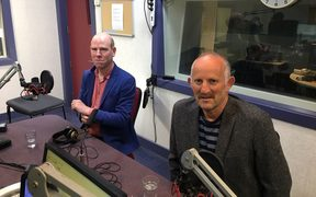 Max Rashbrooke, left, and Opportunities Party leader Gareth Morgan in the Wellington studios.