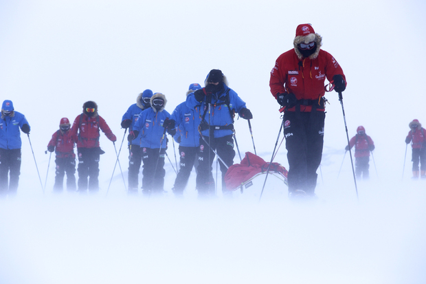 Prince Harry (right) and expedition team members training in Antartica before the charity walk.