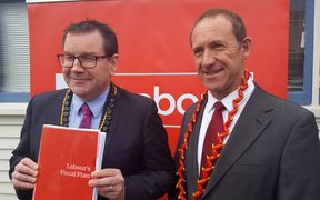Labour finance spokesperson Grant Robertson (left) and leader Andrew Little, at the party's launch of its budget plan.