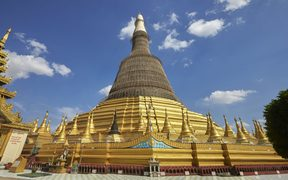 Shwemawdaw Pagoda is a stupa located in Bago. It needed repairs in January 2015.