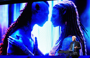 Avatar director James Cameron delivers a speech at a digital forum in Seoul in May.