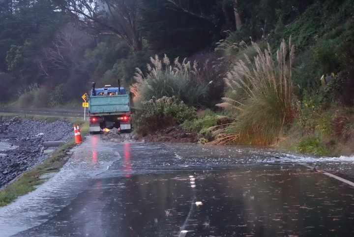 Slip covering most of Portobello Road, blocking the main Otago Peninsula road.