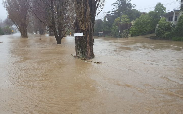 Flooding on Riverlaw Terrace in Christchurch.