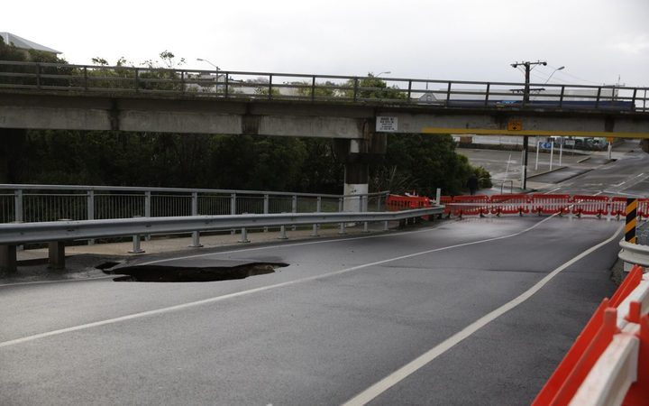 The Humber St Bridge in Oamaru was closed due to hole in the road.
