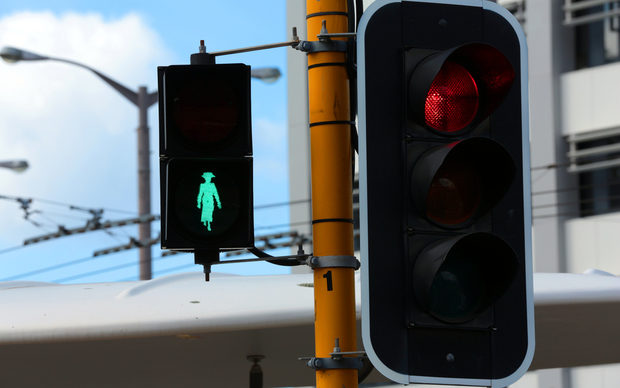 Kate Sheppard traffic light outside Parliament