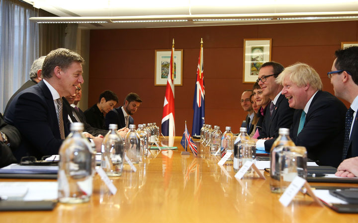 UK Foreign Secretary Boris Johnson meets with New Zealand Prime Minister Bill English and Foreign Minister Gerry Brownlee in Wellington.