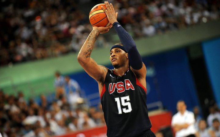 Carmelo Anthony playing for the USA at the Summer Olympics.