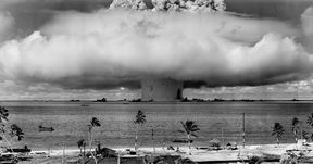 Mushroom-shaped cloud and water column from the underwater nuclear explosion of July 25, 1946, which was part of Operation Crossroads.