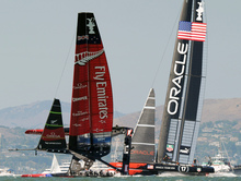 Emirates Team New Zealand battled it out against Oracle Team USA but lost the series.