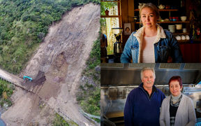 Rebecca Algie (top) and John Gooding & Judy Thomson have been badly affected by the Manawatu Gorge closure.