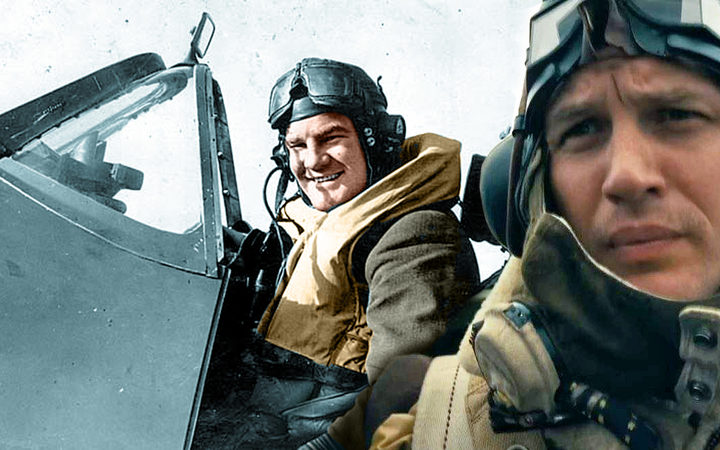 Al Deere (left), who partly inspired Tom Hardy's character in Dunkirk.