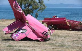 Wreckage from the Skydive Taupō plane that crashed into Lake Taupō in January 2015.