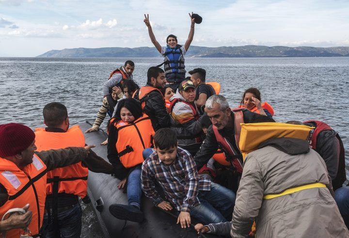 Syrian Refugees arrive on Lesbos island, Greece
