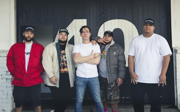 SWIDT outside their Onehunga studio with Music 101 host Alex Behan