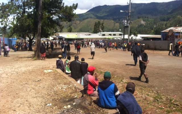 Mendi town on Saturday. Businesses were closed as the declaration of results stirred a violent reaction from some groups.