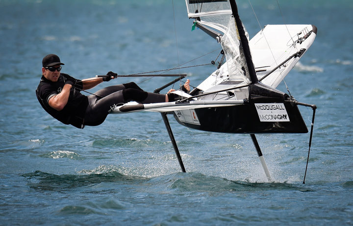 Peter Burling competes at Moths World Championships in Italy