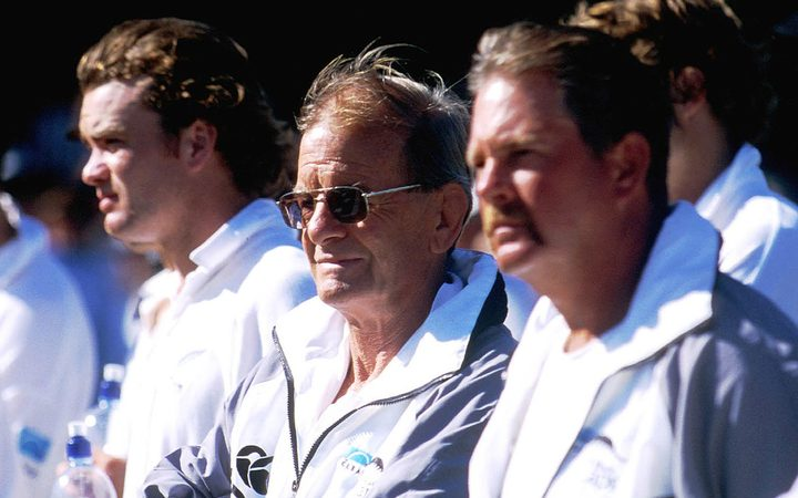 NZ Cricket manager John Graham in 1999 alongside Dion Nash (left) and coach Steve Rixon.