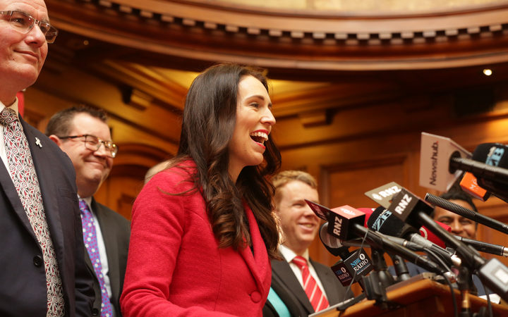 Jacinda Ardern addresses media after being elected Labour Party leader
