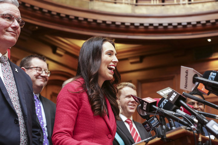 Jacinda Ardern, Labour Party Leader addresses media at Parliament after Little stands down.