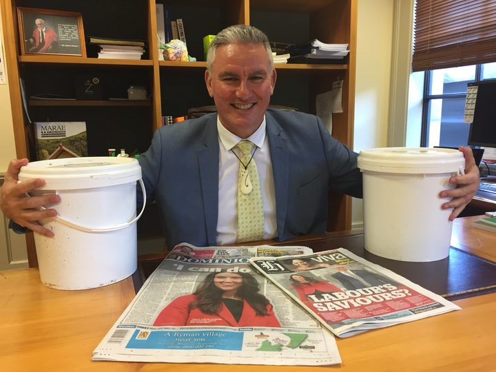 Labour's new deputy leader Kelvin Davis with his two buckets of muttonbird.