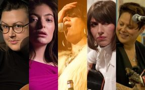 Female NZ musicians (from left) Nadia Reid, Lorde, Ladi6, Aldous Harding and Anika Moa have made huge strides in getting their music out there, but are still heavily outnumbered by the blokes.