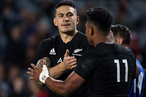 Sonny Bill Williams (L) celebrates with try scorer Julian Savea during the international rugby test match between New Zealand and Samoa at Eden Park in Auckland on June 16, 2017.