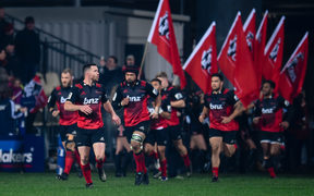 Crusaders Ryan Crotty and Jordan Taufua run on to the paddock during the semi final, against the Chiefs.