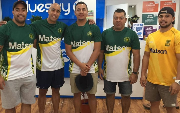 Members of the Cook Islands squad put in some promotional work before the Oceania final